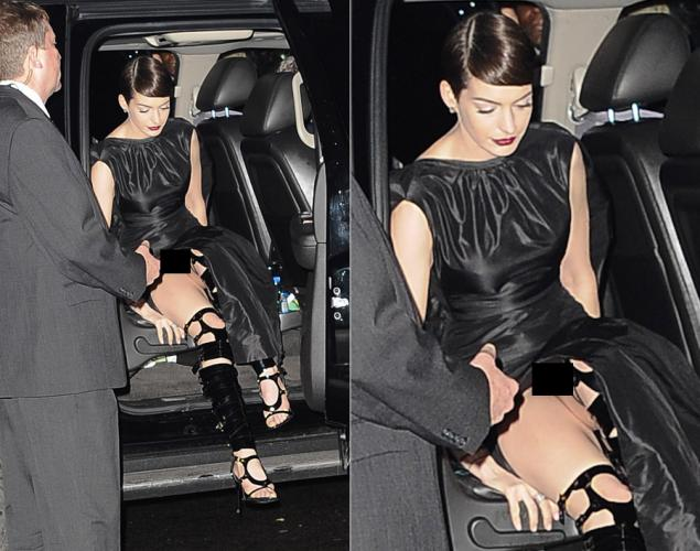 "ANNE Hathaway is captured by prying paparazzi in what US media describes as ""wardrobe malfunction."" In Filipino, 'di po siya nag-panty noong lumabas siya ng bahay. (www.nydailynews.com)"