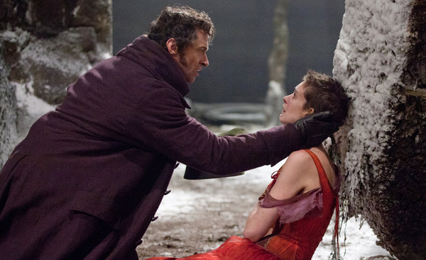 "HUGH Jackman as Jean Valjean and Anne Hathaway as Fantine in a scene from ""Les Miserables."" Hathaway could bring home her first Oscar in a few weeks time. (nytimes.com)"