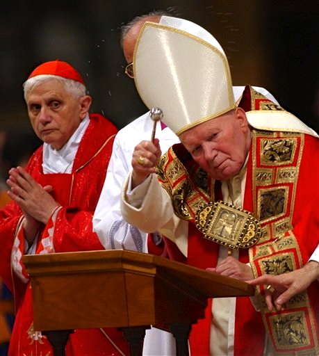 AN ailing Pope John Paul II and then trusted aide and future successor Cardinal Joseph Ratzinger in the Vatican.