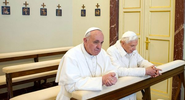 "POPE Francis prays together with his ""brother"" and predecessor, Pope Benedict XVI. (www.breakingnews.ie)"