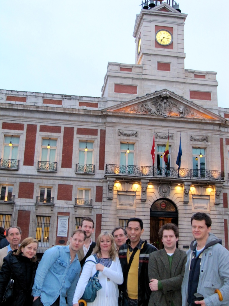 OUR group of international journalists pose for pictures at Madrid's famous square