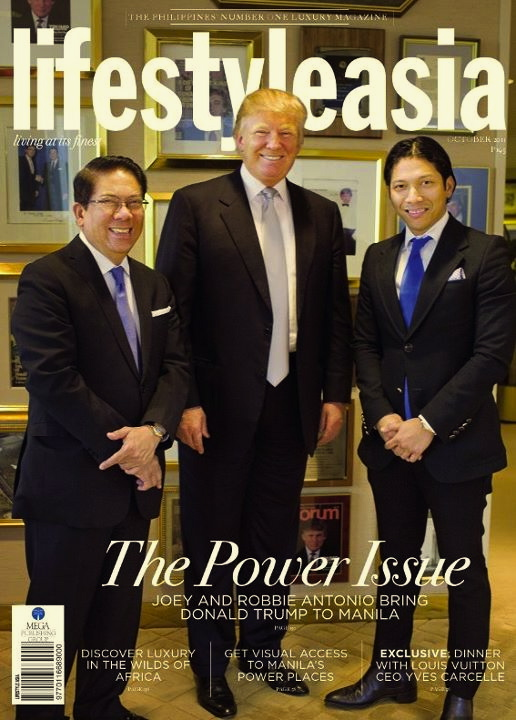 ROBBIE and father Joey Antonio with Donald Trump on the cover of a leading Manila society gloosy