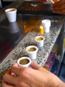 DON'T let their size fool you. These tiny shots of coffee could keep you up all night. (photo by Ivy)