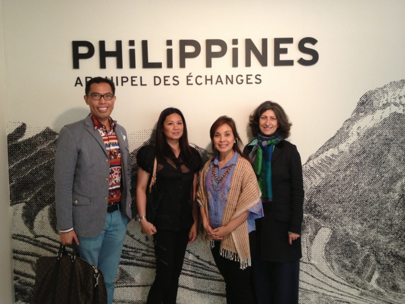 ALEXYVERGARA with Ria de Borja, Sen. Loren Legarda and exhibition curator Constance de Monbrison at Musée du Quai Branly