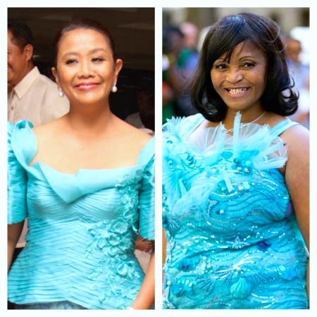 FILIPINO Sen. Nancy Binay and South African ANC member of parliament Pinky Mcube, who channeled from whom? To be fair to Sen. Binay, she looks lovely and polished in Randy Ortiz's two-piece aqua terno.