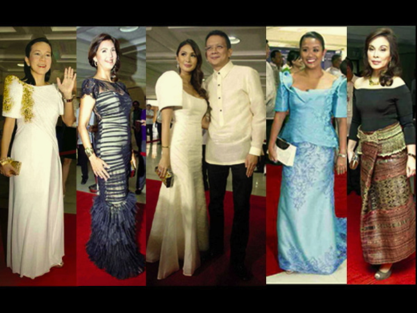 THE way they wore at the SONA: Senators Grace Poe-Llamanzares, Pia Cayetano, Chiz Escudero with actress Heart Evangelista, Nancy Binay and Loren Legarda. (www.inquirer.net)