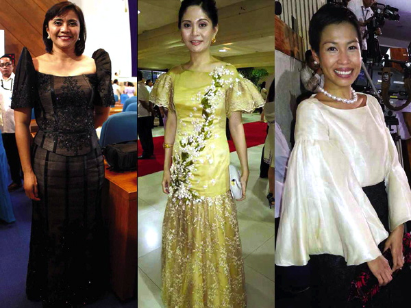THE way they wore in last Monday's SONA: Rep. Lenny Robredo, Gel Tupas and Julia Abad. (www.inquirer.net)