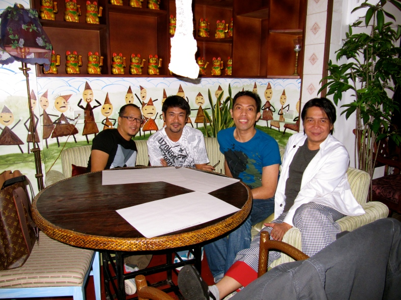 JUDE (fourth from left) and I, with Noel and Chito, at Frazzled Cook