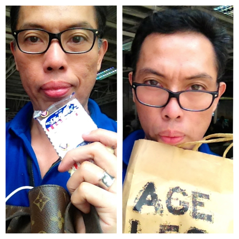 BEFORE, with my old LV bag and lunch consisting of a packet of SkyFlakes, and after, with an environment-friendly paper bag from Bench