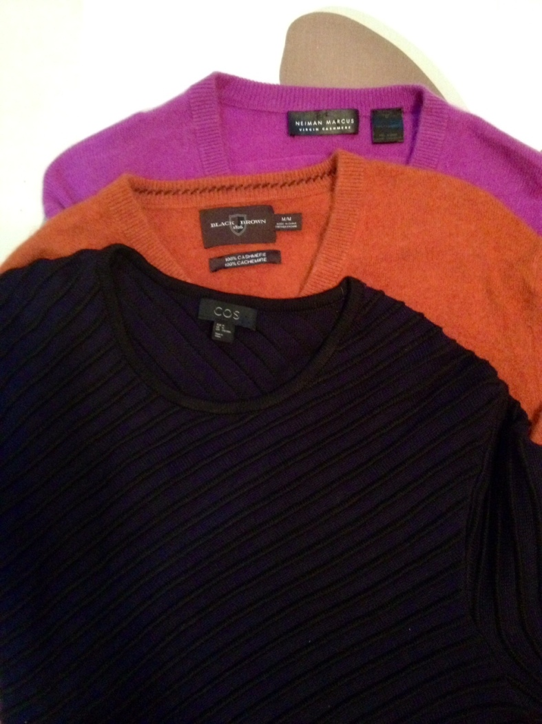 CASHMERE sweaters are light and warm enough for those cold and boring long-haul flights.