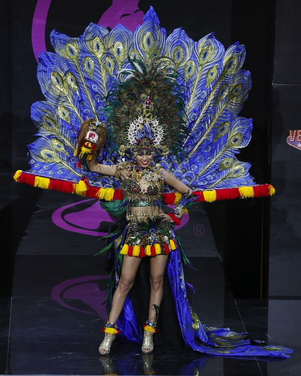 MISS Indonesia, in a garuda-inspired costume, has her eye on the prize.