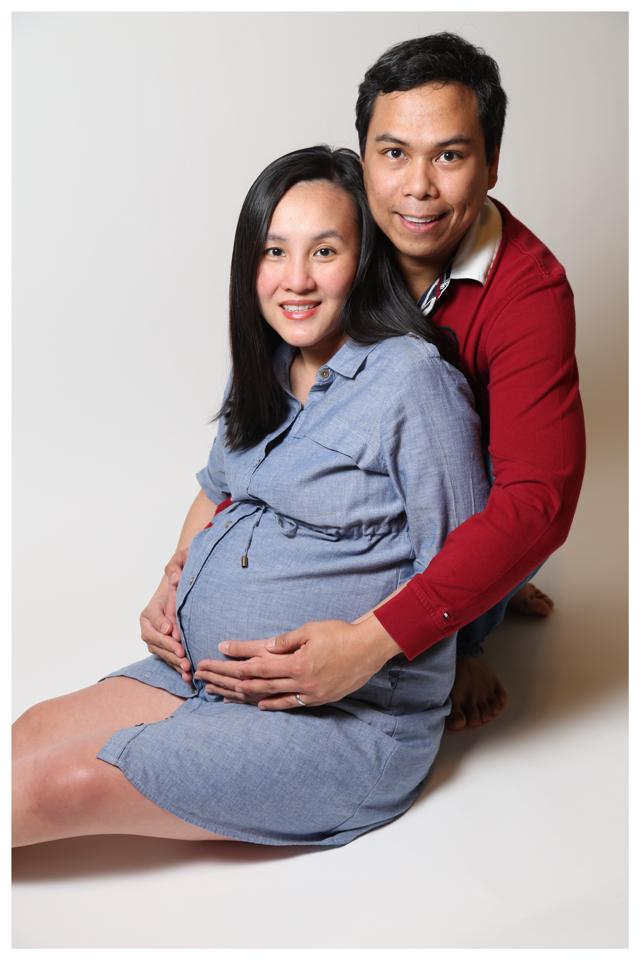 BEFORE Namfon loses the bump, Ronnie decides to take this photo of them at home on the eve of Kiko's birth.