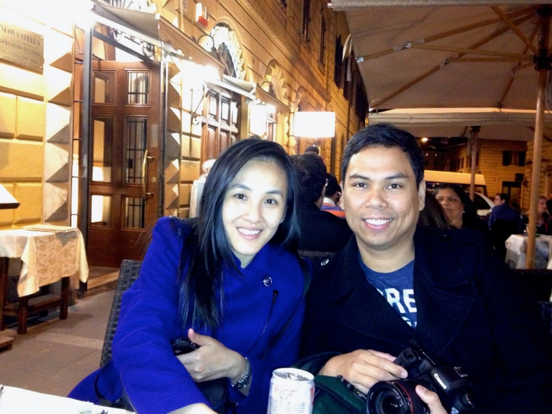 THE Vergara couple, Namfon and Ronnie, on our first night in Rome. Before the week is over, we would know that Namfon was already pregnant with Peter Francisco.