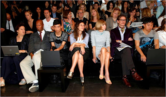 AN iconic photo of Vogue editor-in-chief Anna Wintour and fellow journalists Suzy Menkes and Hamish Bowles sharing the front-row with bloggers like Bryanboy (third from left) in 2010. Whether Anna and her ilk approve of it, bloggers have become permanent fixtures they have to deal and compete with during coverage.