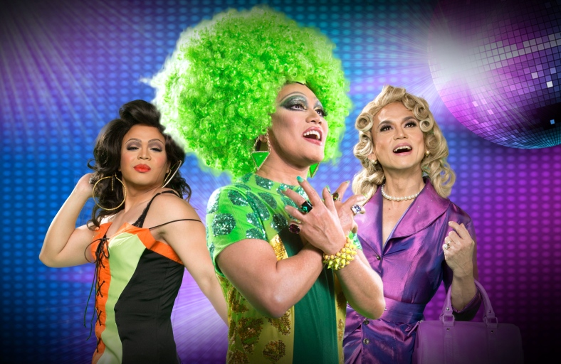 """CHARLIE'S Angels, they're certainly not. Red Concepcion, Leo Tavarro Valdez and Jon Santos play the lead queens in """"Priscilla Queen of the Desert."""" (all photos in this entry are courtesy of Resorts World Manila)"""