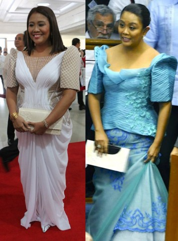 WHAT a difference a year makes. Sen. Nancy Binay, pictured here both wearing Randy Ortiz's ternos, in 2013 (right) and 2014 (left). She looks polished and dignified in 2013's SONA red carpet compared to her more recent look.