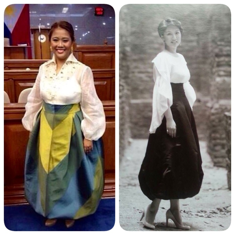 TALE of two parachutes. Sen. Nancy Binay's look is far from orginal, but worn by the likes of Irene Marcos-Araneta as designed by Pepito Albert, the blouse-and-pouf skirt ensemble looks fresh and fashion forward.