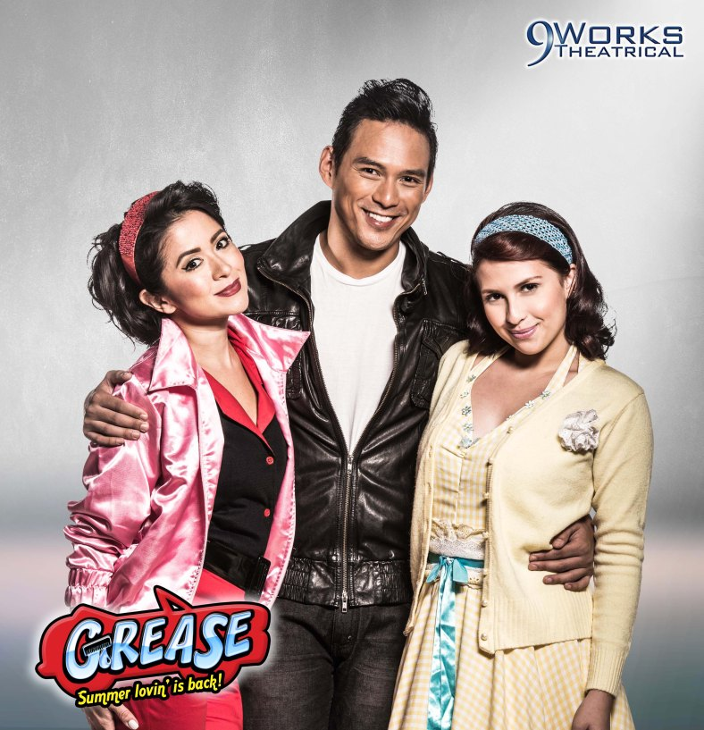 "LEAD stars of ""Grease"": Antoinette Taus as Betty Rizzo, Guji Lorenzana as Danny Zuko and Tippy Dos Santos as Sandy Dumbrowski"