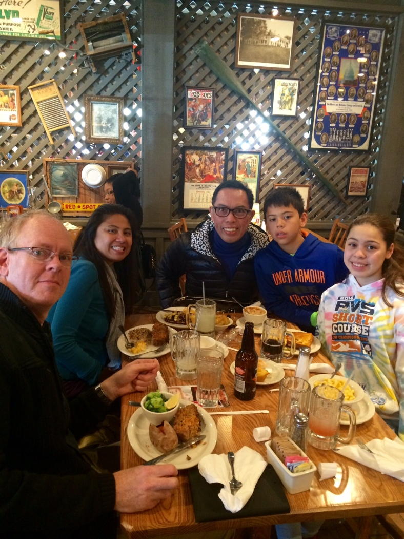 THANKSGIVING means family. (from left) Steve, Farida, Alex, Patrick and Stephanie have lunch at Cracker Barrel.