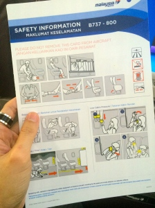 WHEN was the last time you reviewed a plane's safety card? Well, I'm reading mine just in case.