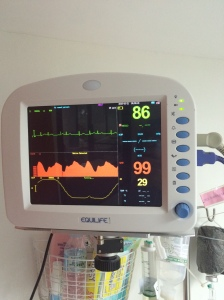 THE upper number is Dad's pulse rate, and the lower set of red numbers are his blood pressure. Without the BP-boosting medicine he is given in the ICU, Dad's blood pressure will plummet to an alarmingly low level.