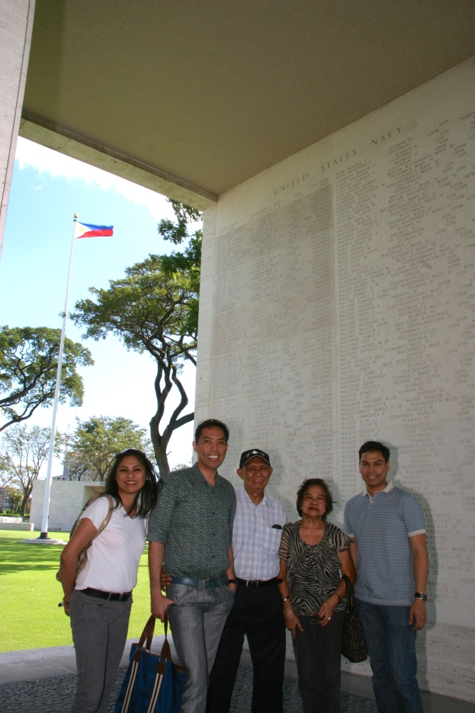 AT the American Cemetery at Fort Bonifacio, where the name of my Lolo, Cipriano Vergara, a US navy missing in action, is incribed