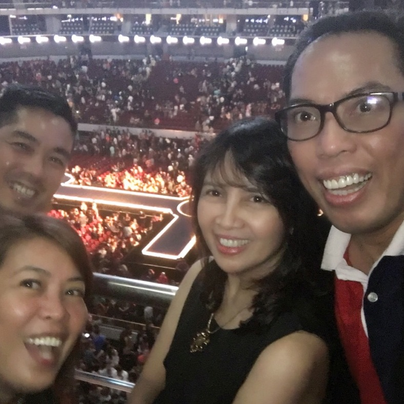 """Good friends Vlady, Ivy, Peachy and I right after Madonna's """"Rebel Heart"""" concert at SM MOA Arena"""